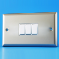 Varilight 3 Gang 1 or 2 Way 10A Rocker Light Switch (Twin Plate) Satin Chrome XN93W